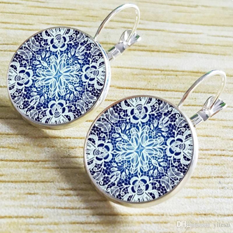 2016 Mandala Glass Cabochon Earrings OM Symbol Buddhist Vintage Earrings Datura Women Jewelry Online Shopping in India