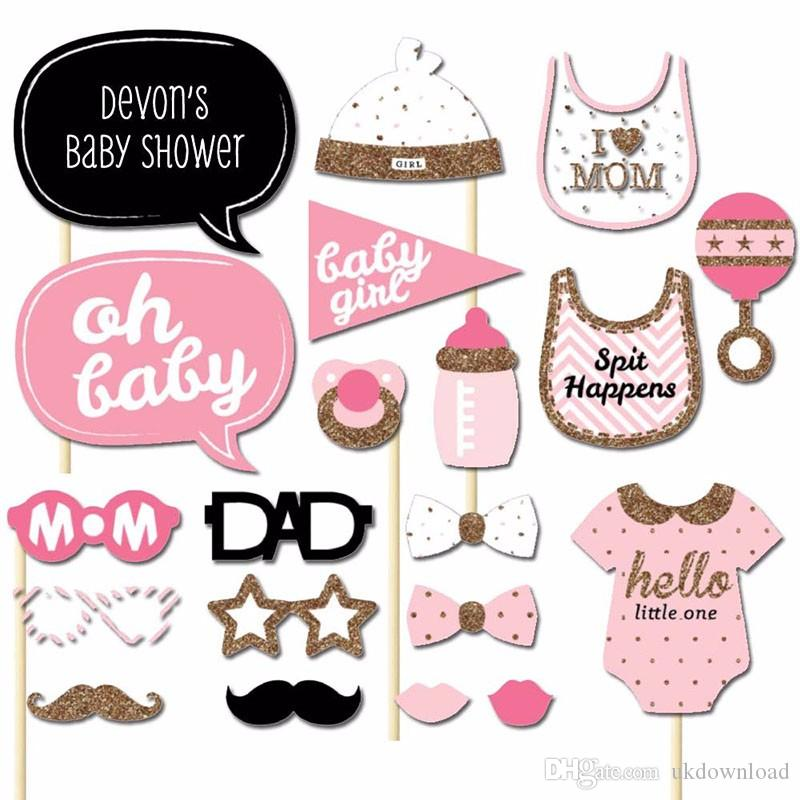 Of 20 Baby Shower Girl Photo Booth Props On A Stick Diy Kits Fun