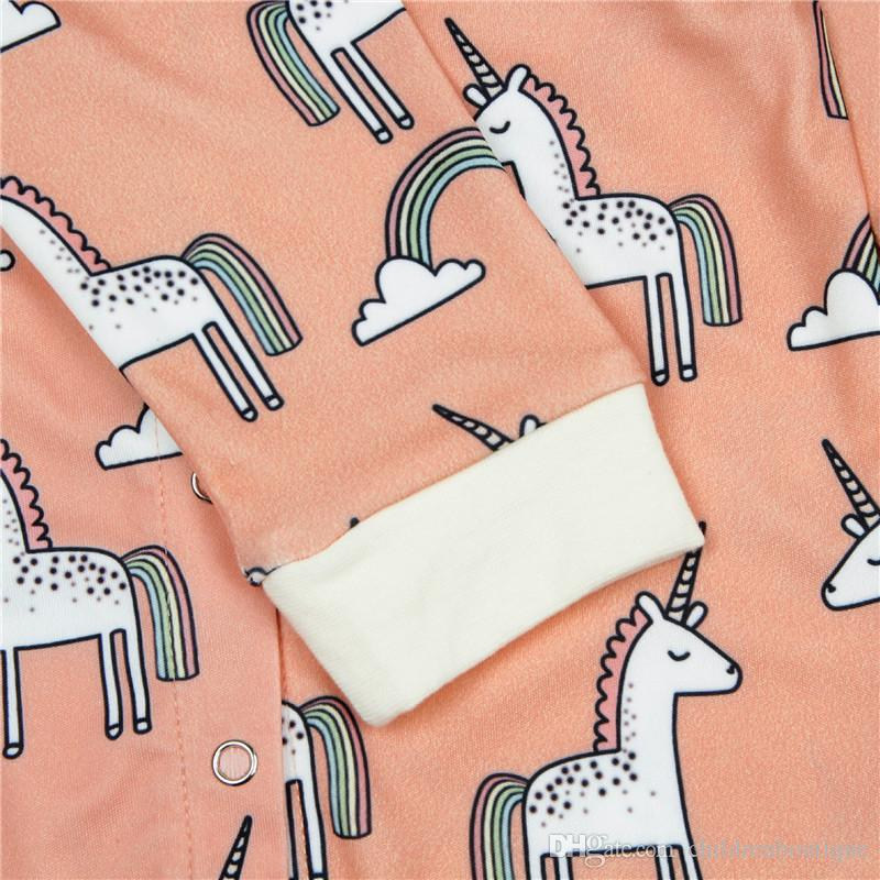Newborn Baby Boy Girl Clothes Cute Unicorn Printed Jumpsuit Cotton 2018 Spring Autumn Long Sleeve Baby Onesie Rompers Infant Kids Clothing