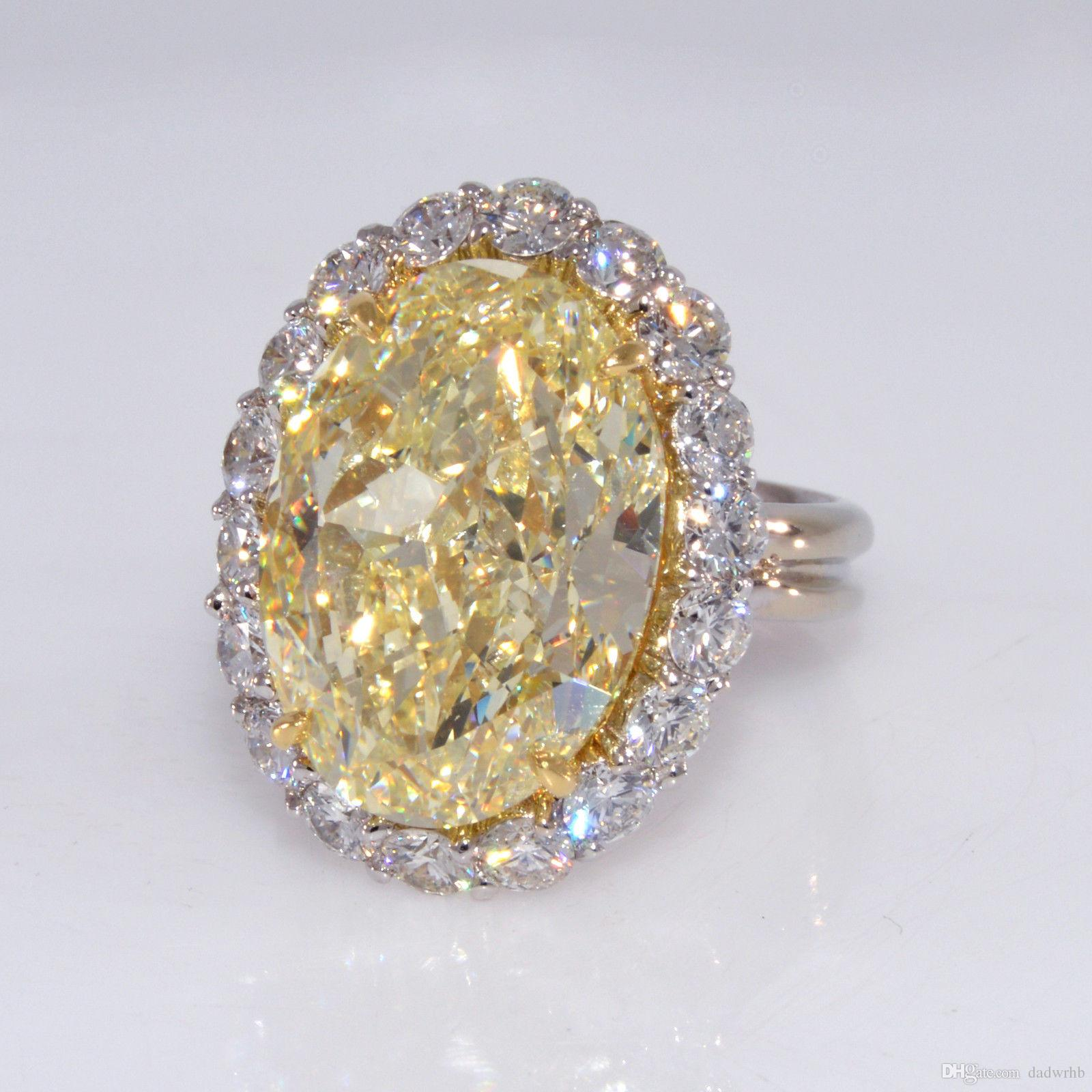 product square diamond rings cttw womens ring yellow canary cluster natural engagement gold round white