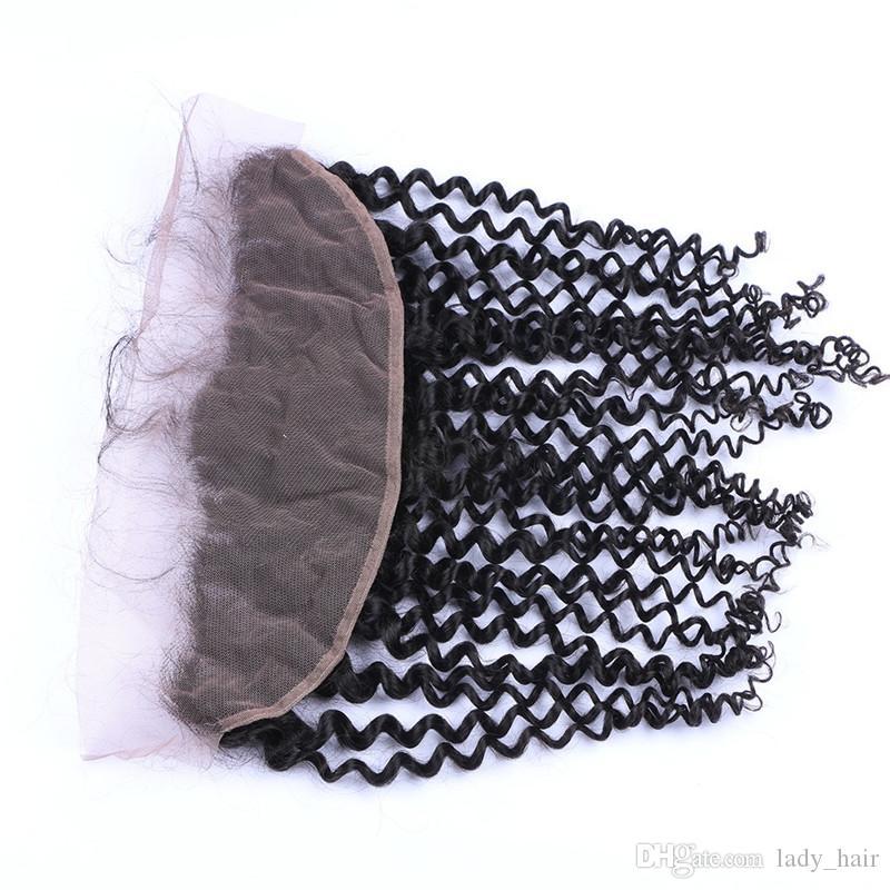 Unverarbeitete 100 Virgin Brazilian Deep Curly 13x4 Ohr zu Ohr volle Spitze Fontals mit Baby-Haar Günstige Curly Lace Frontal Schließung gebleichte Knoten