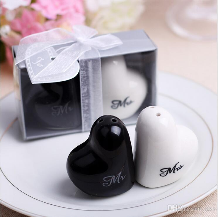 Mr. and Mrs. heart shaped Ceramic Salt Pepper Shakers + Wedding bridal shower Favors gifts