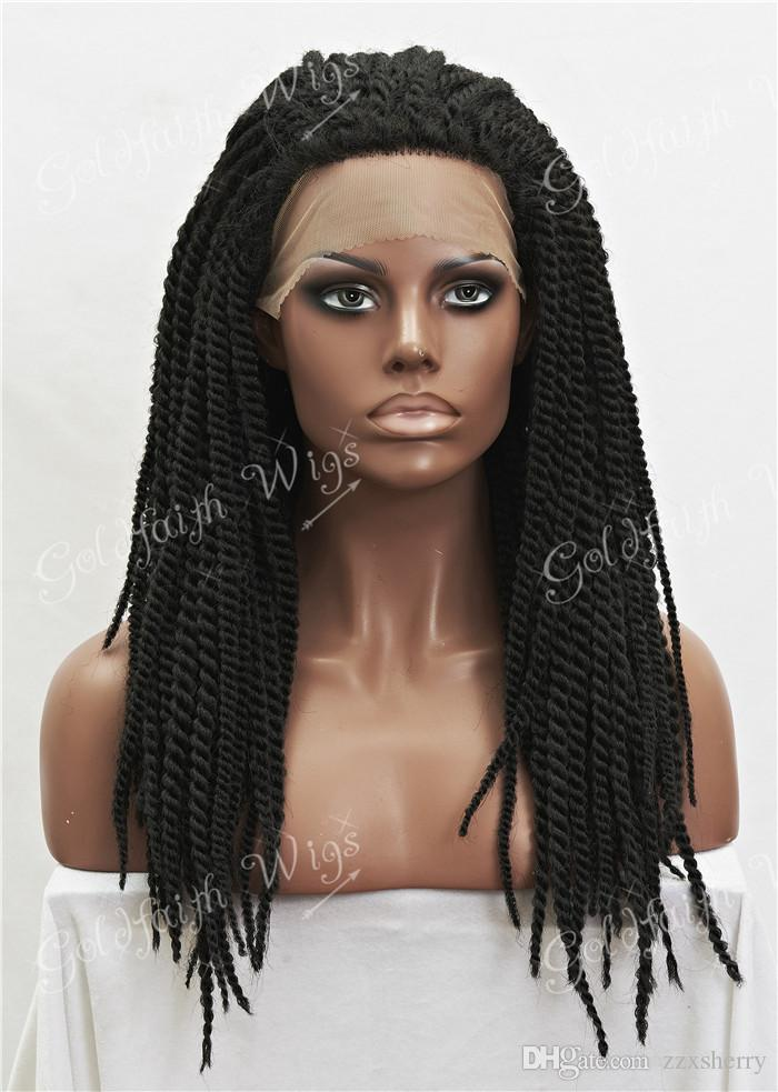 #1b Black Synthetic Braiding Hair Wig Full Kanekalon Braided Lace Front wigs For Black Women, Braid Wig for Africa American