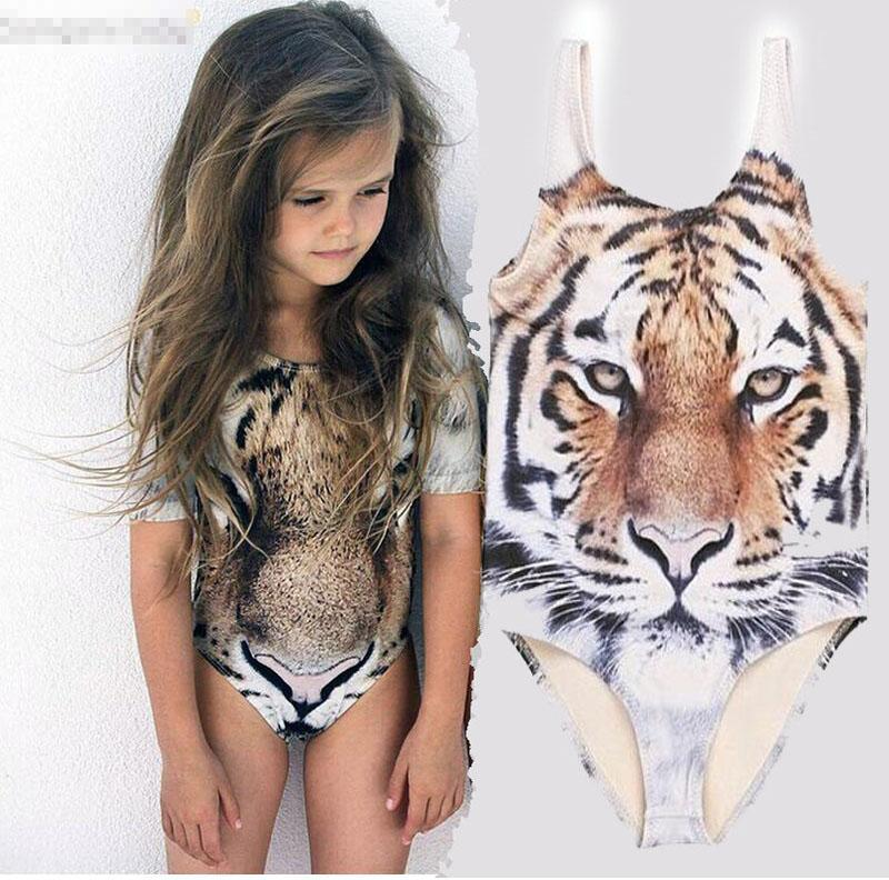 Girls INS 3D tiger vest Swimsuit DHL Summer ins Tiger Print One-Pieces Swimwear baby animal swimming suit clothes B