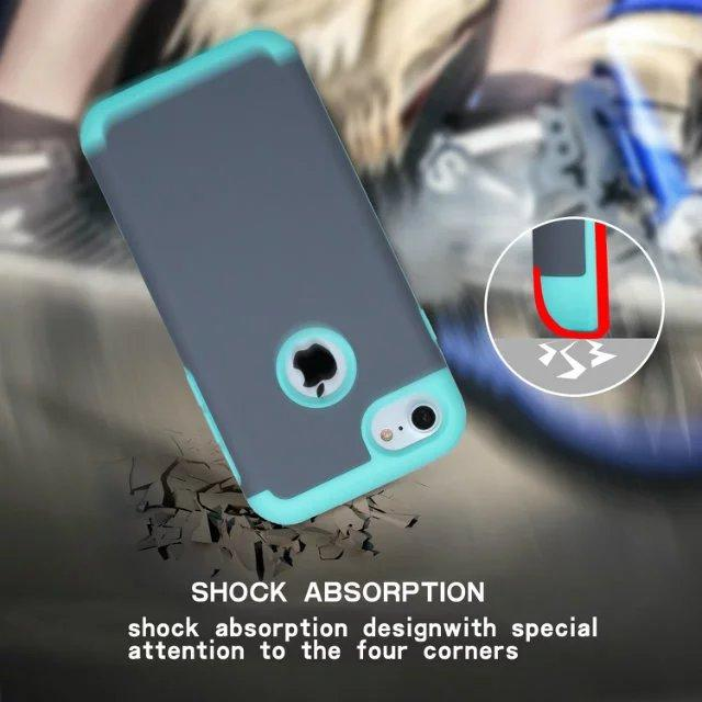 Hybrid Armor Hard Soft TPU PC Case For Iphone 7 Plus I7 IPhone7 Shockproof Fashion Oil Leather Dual Layer Tone Cell Phone Cover Skin