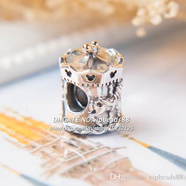 2017 новая мода ювелирные изделия Карусель позолоченные подвески бусины 925 стерлингового серебра бусины ювелирные изделия для женская мода DIY браслет