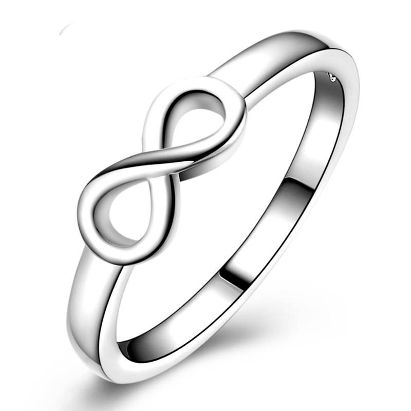 Best Friend Gift Silver Infinity Ring Endless Love Lucky Symbol 8
