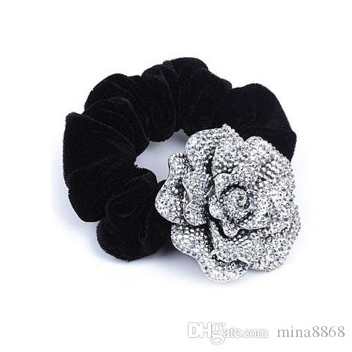 Hot Sales Fashion hair accessories Big Rose Flower Cloth Diy headband Hair Rope Hair Circle for women DHF432