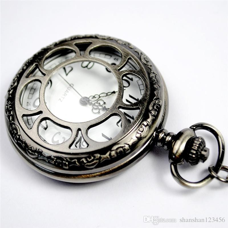 gold dial hollow fob pocket watches necklaces pendant flip locket quartz watch wall clocks women jewelry christmas gift old fashioned pocket watch