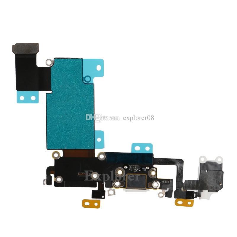 nuevo para iPhone 6S 4.7 '' 6s Plus 5.5 pulgadas audio del auricular del cargador del muelle de carga USB Sustitución del conector del puerto Flex Cable