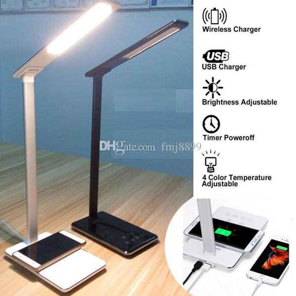 2018 Led Desk Lamp Touch Control Table With Qi Wireless Usb 2 0 Charger Dimmable Eye Caring Timer Poweroff Modes From Fmj8899