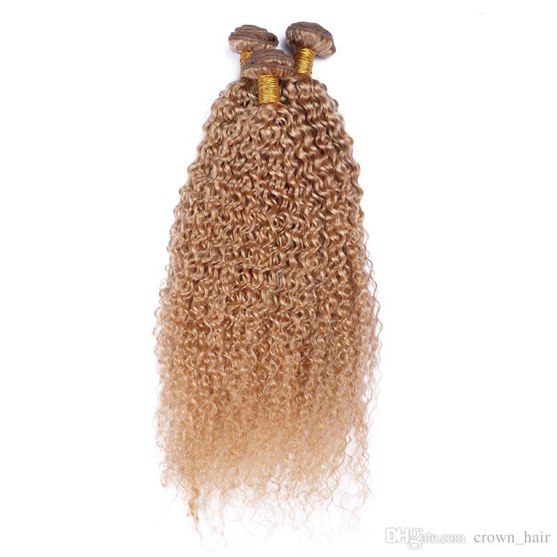 몽골어 곱슬 곱슬 인간의 머리 확장 꿀 금발 머리 번들 처리되지 않은 # 27 순수한 색 머리 엮어 3 개 / 몫