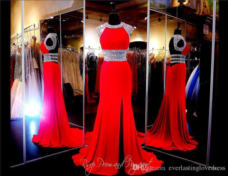 Corte alto escote rebordear una línea de gasa rojo vestido de fiesta Vestido de capucha abierta abierta mangas frente raje vestido de noche vestido de desfile