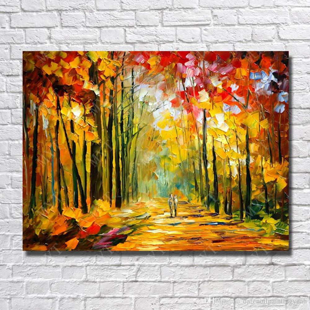2017 Large Canvas Paintings Knife Tree Landscape Oil