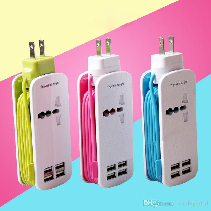 4USB Port Travel Wall Charger AC Power Adapter Output AC 5V 4.2A Power 4 USB Charging Socket With 1.2m Cable