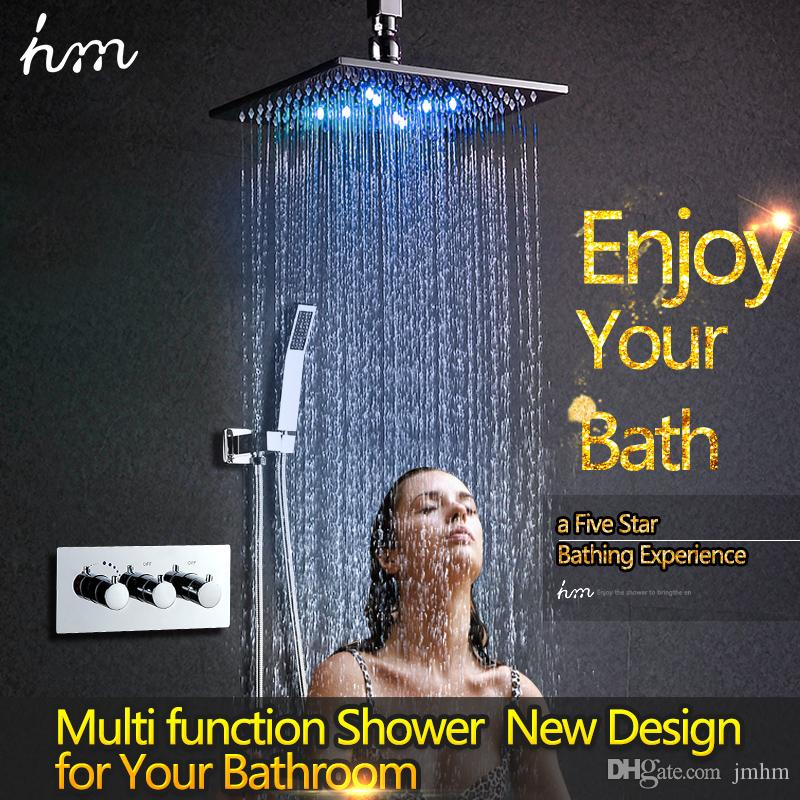 Luxury Rainfall Shower System High Flow Water Mixer Thermostatic ...