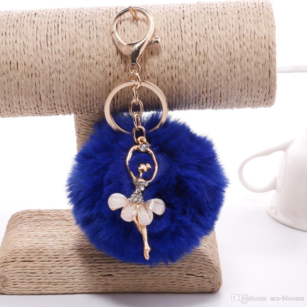 Fashion Women Rex rabbit fur ball Dancing Angel Rhinestones Ball Charm Car Keychain Handbag Key Ring Pendant 12 styles D198Q