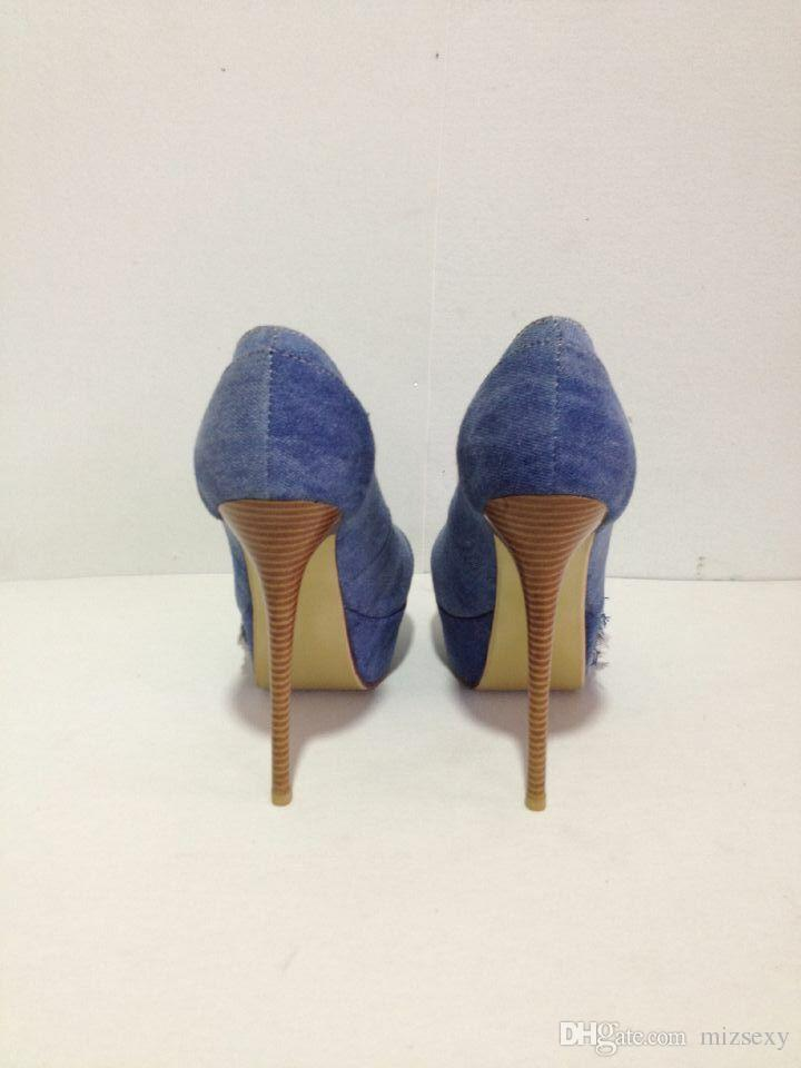 2019 nuevos zapatos de moda punta redonda plataforma tacones altos sapatos melissa damas zapatos mezclilla mujeres bombas zapatos de fiesta tacón de aguja