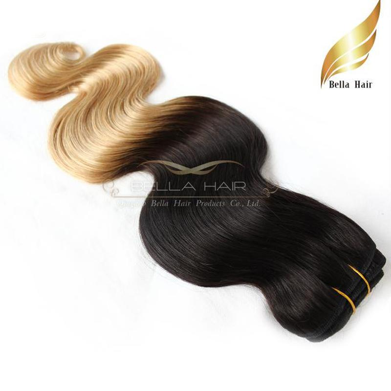 "Hair Extensions Weft Ombre Hair Dip Dye Two Tone #T1B/#14""-26"" Brazilian Human Hair Weaves Body Wave Bellahair 7A"