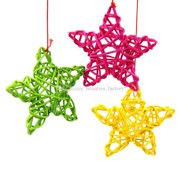 20pcs Rattan Star Christmas Wedding Party Home Decorations Kids Room Ornaments Star Rattan Ball Multi Colors New
