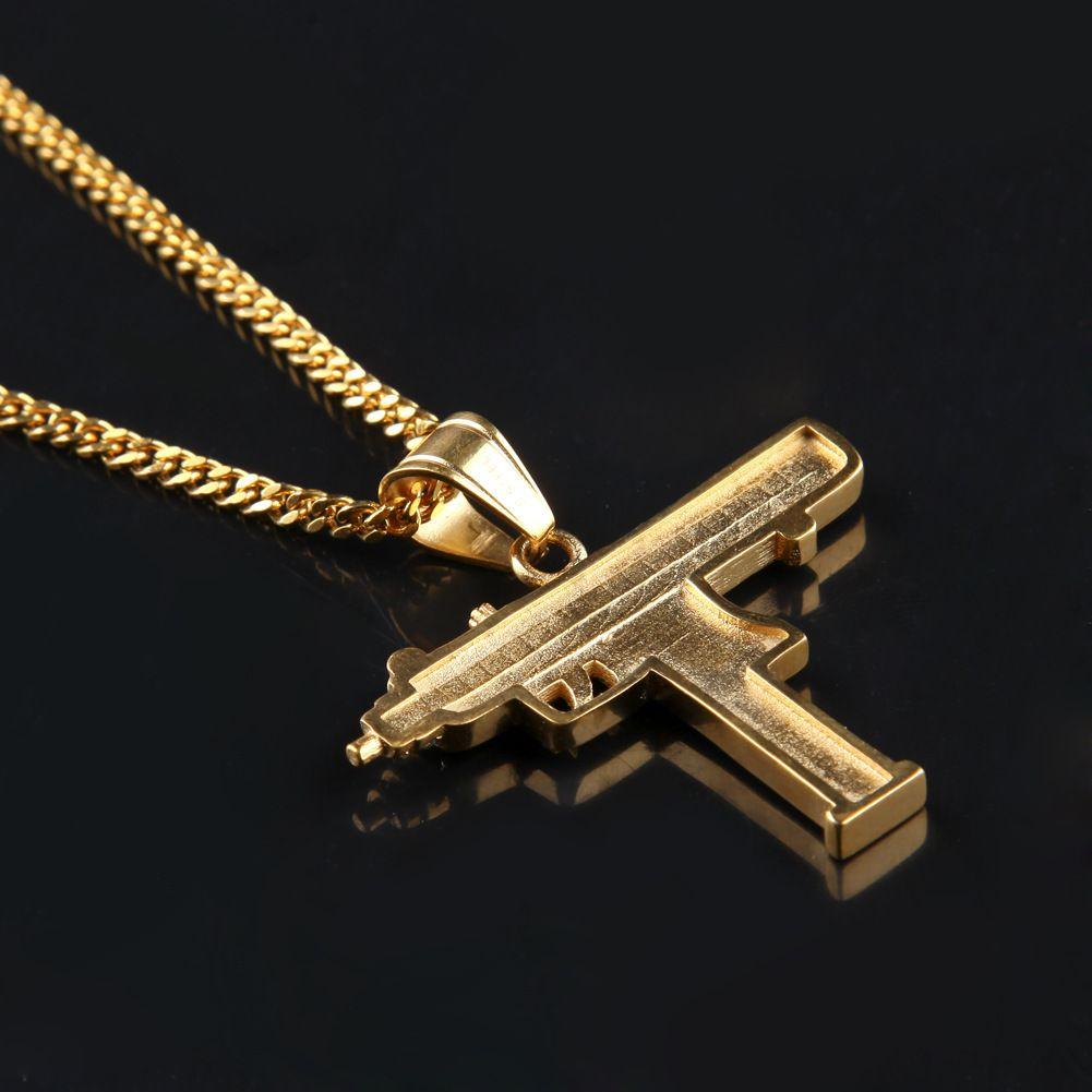2017 الساخن الهيب هوب القلائد محفورة بندقية شكل عوزي الذهبي قلادة جودة عالية قلادة الذهب سلسلة أزياء شعبية قلادة المجوهرات
