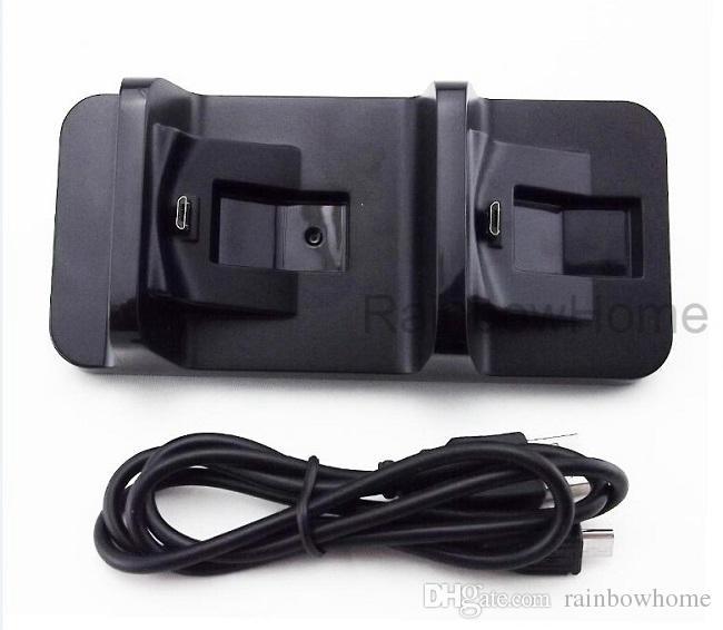 USB Dual Charging Dock Station mini caricatore del basamento della PS4 controller wireless Dualshock Sony PlayStation 4 Cavo USB scatola al minuto