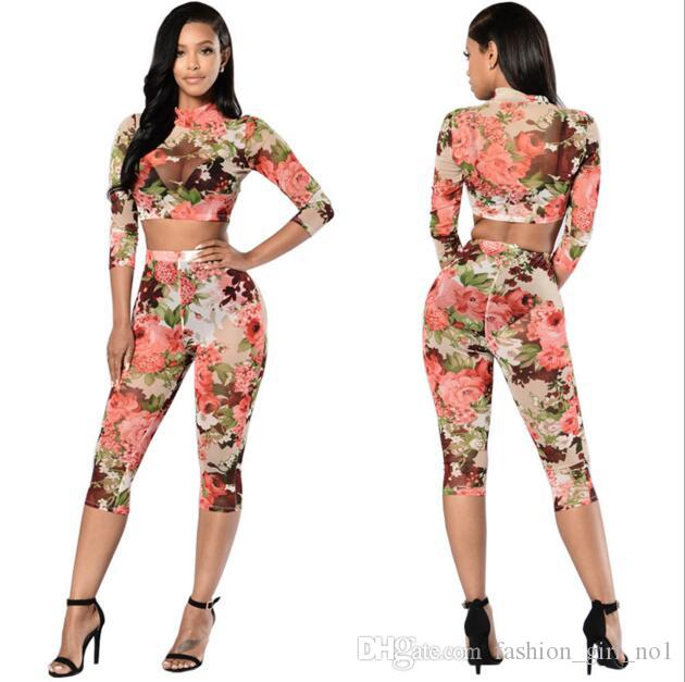 Wholesale- Rompers Womens Jumpsuit Casual Rose prints Two Piece Jumpsuits Set Bodysuit Women Sexy Tracksuit For Women yoga pants
