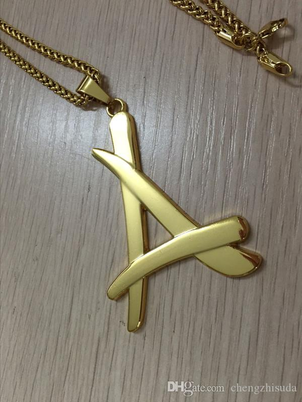 2017 newest superstar Alumni A letter pendant necklace 18K real gold plated thin chain men colgantes hip hop hombre N193