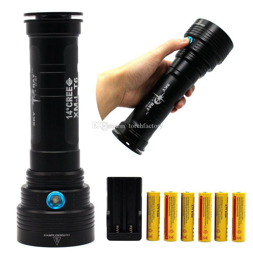 SKYRAY KING 14x Cree XM-L T6 20000 Lumens LED Flashlight Torch Lamp 3 Modes Strong light+6x 18650 Battery+Charger