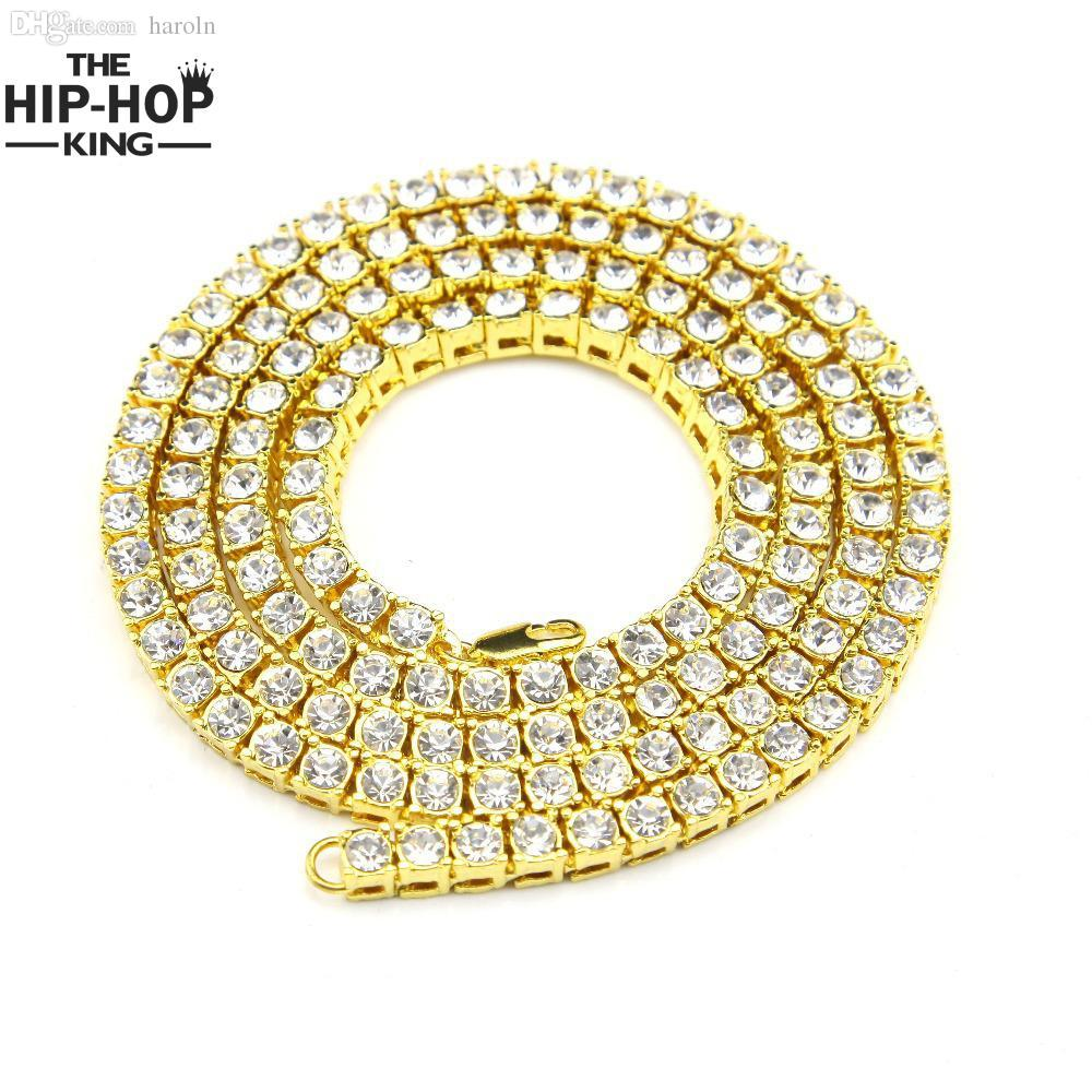 Al por mayor-Hip Hop Cadena de Oro 1 Fila Simulado Diamante Hip-Hop Collar de Cadena de 24 pulgadas - 30 pulgadas Mens Gold Tone Iced Out Punk Necklace