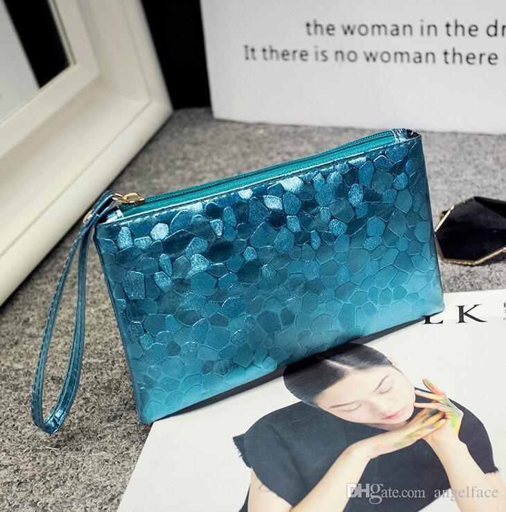 여자 스팽글 지퍼 클러치 백 전화 지갑 지갑 열쇠 동전 핸드백 주머니 가방 저장 부대 화장품 부대 이동 전화 부대 6 개의 색깔