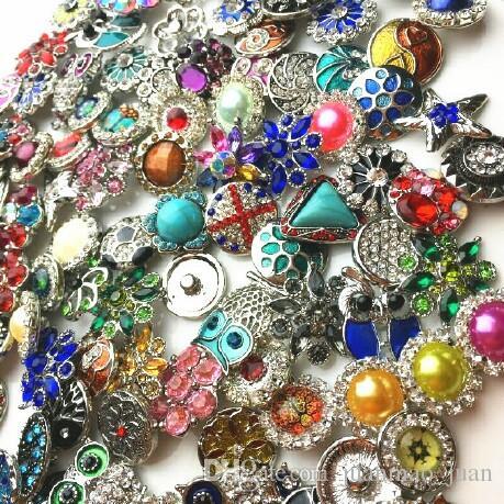 En gros 18 MM Gingembre Snap Bouton Strass Style Mixte Fit Pour Noosa Bracelets En Cuir Collier Bijoux Accessoires De Bricolage