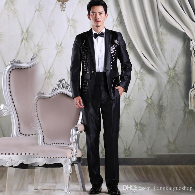 2016 Blanc Noir Costumes De Mariage Pour Hommes Paillettes Hommes Costume Cranté Galles Tuxedos Deux Pièces De Bal Parti Costume Veste + Pantalon + Cravate