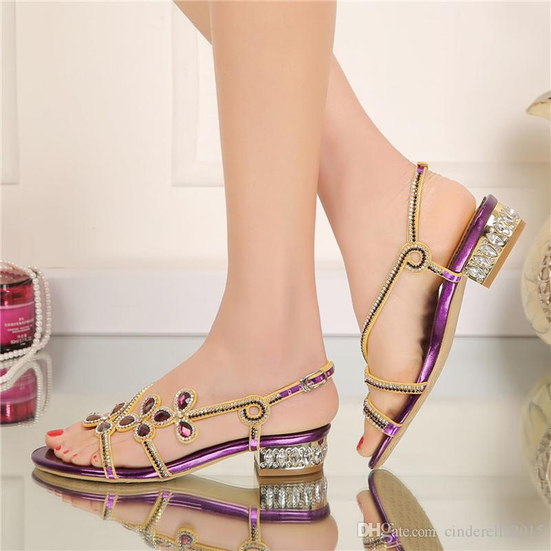 Low Heel Rhinestone Sandals 2016 Ladies Summer Shoes Crystal Flower Wedding  Party Shoes Purple Gold Black Color Large Size 9 10 Stiletto Heels Party  Prom ... 6b1833d9454e