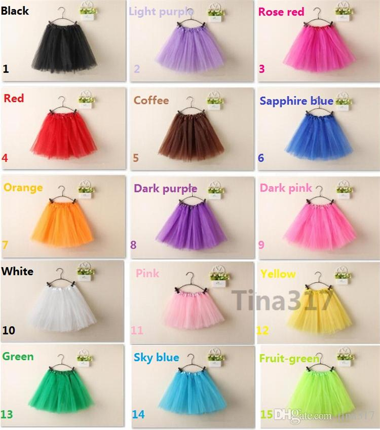 Top Quality candy color kids skirt dance soft tutu skirts ballet skirt 3layers children pettiskirt clothes 2144