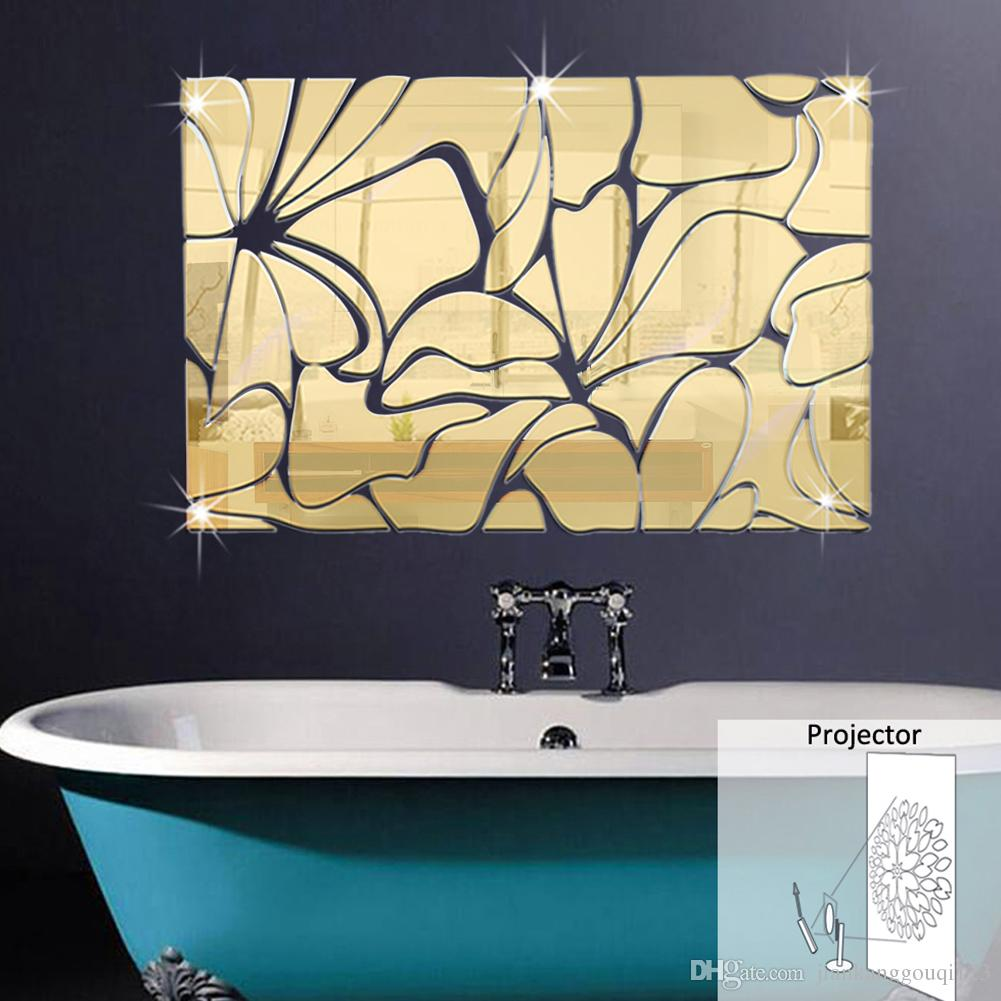 Creative Fashion 3d Square Mirror Projection Wall Stickers Living ...