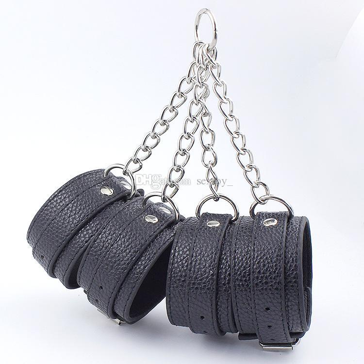PU leather Hand Cuff & Ankle Cuff Cross Belt Foot Fetish BDSM Bondage Restraints Sex Products Cross Metal Chain Adults Sex Toys