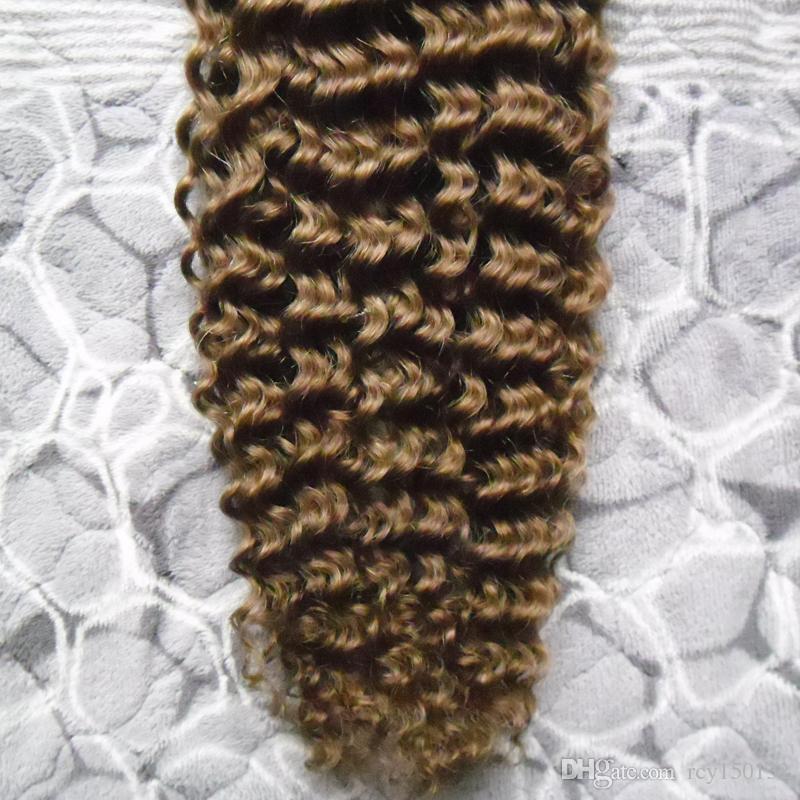 Brazilian Human Tape in kinky curly Skin Weft 100% Human Hair Tape In Hair Extensions #4 Dark Brown tape in human hair extensions 100g