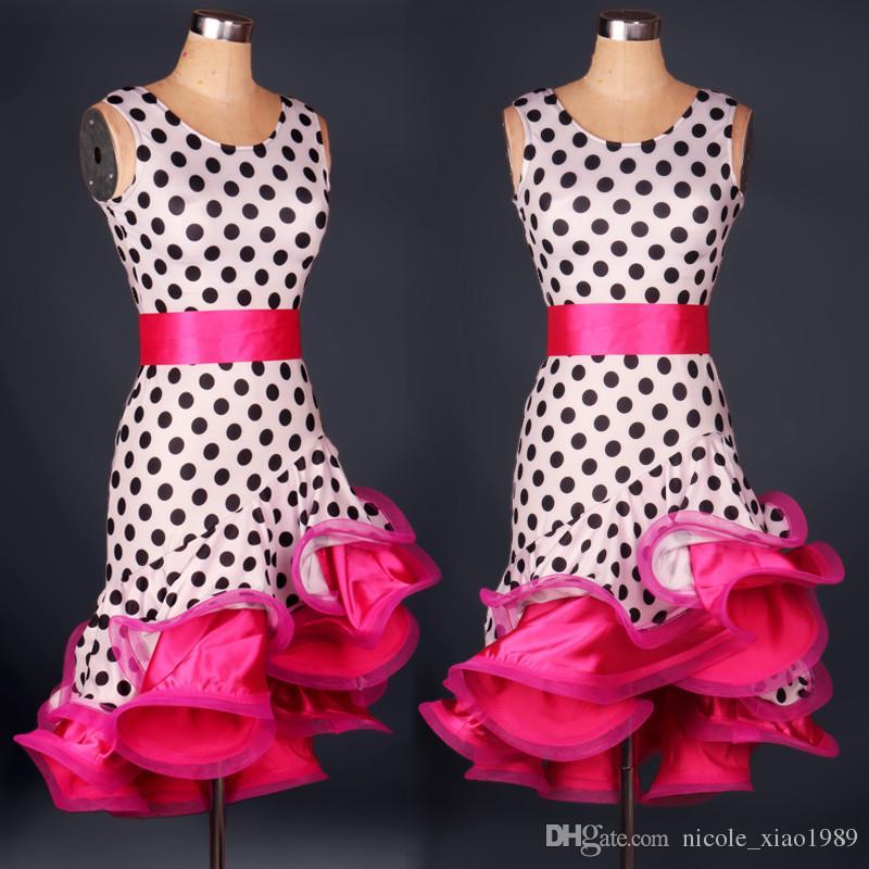 Frete grátis 7 cor vermelho blakck vermelho amarelo adulto / menina dança latina dress salsa tango chacha salão de baile concorrência prática vestido de dança personalizado