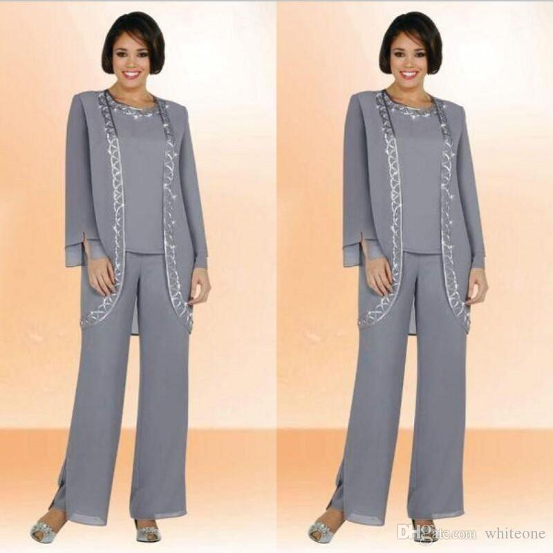 Modest 2016 Silver Chiffon Mother Of Bride Pant Suits With Coat Long  Sleeves Beaded Plus Size Formal Women Wedding Party Evening Gowns Cheap  Mother Of The ... 7d81eba0e59e
