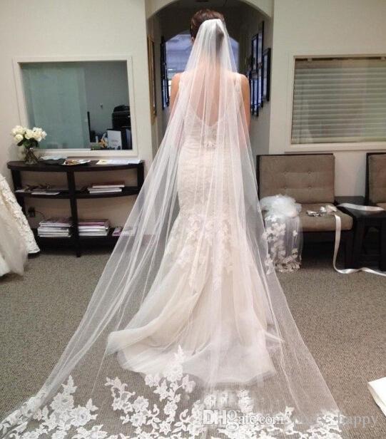 Ivory Wedding Veil | Bridal Veil Romantic Lace Soft White Gauze Veil 3 Meters Length
