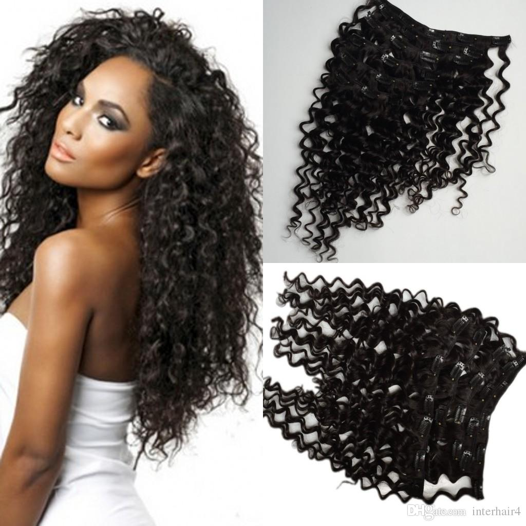Mongolian Deep Wave Clip In Human Hair Extensions 120grampack