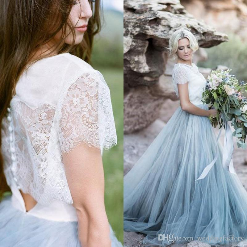 Discount Stunning ful Country Wedding Dress White And Pale Blue ...
