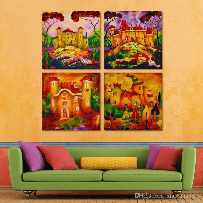 Cartoon houses halloween decoration wonderland wall art picture Canvas Painting for children kids living room unframed