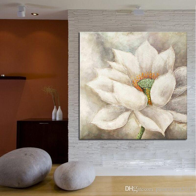 Handmade white lotus flower oil painting beautiful wall paintings for  bedroom wall decoration canvas art home decor