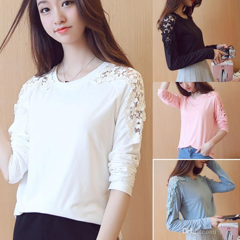 Autumn Winter New Fashion Sexy Women Hollow Out Lace Tops And Blouse White  Black Casual Long Sleeve T Shirt 7 T Shirt Funny Rude T Shirts From Zhyzz a456c9d7a2a6