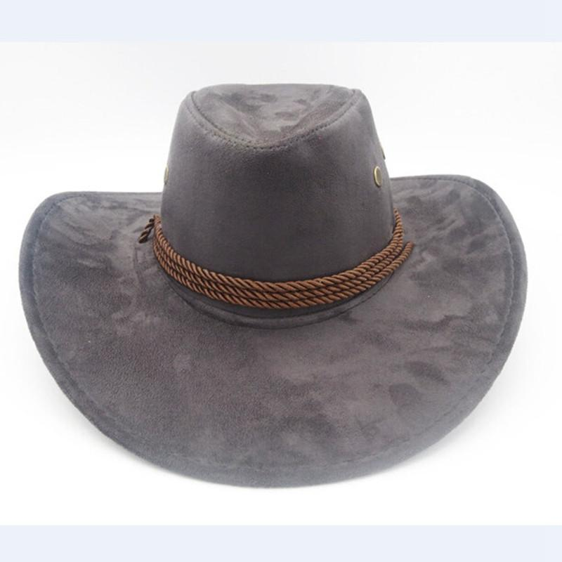 da5563d73dd Wholesale New Summer Beach Sun Cap Fashion Sun Hat Faux Leather Cowboy Hat  Men And Women Outdoor Travel Caps Fashion Western Hats Cowboy Sun Hat Straw  Hats ...