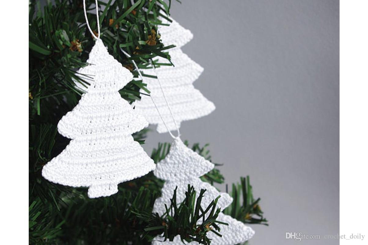 9,99 $ livraison gratuite Ornements de Noël blancs - Décorations de Noël au crochet - Ensemble de 12 arbres de Noël suspendus