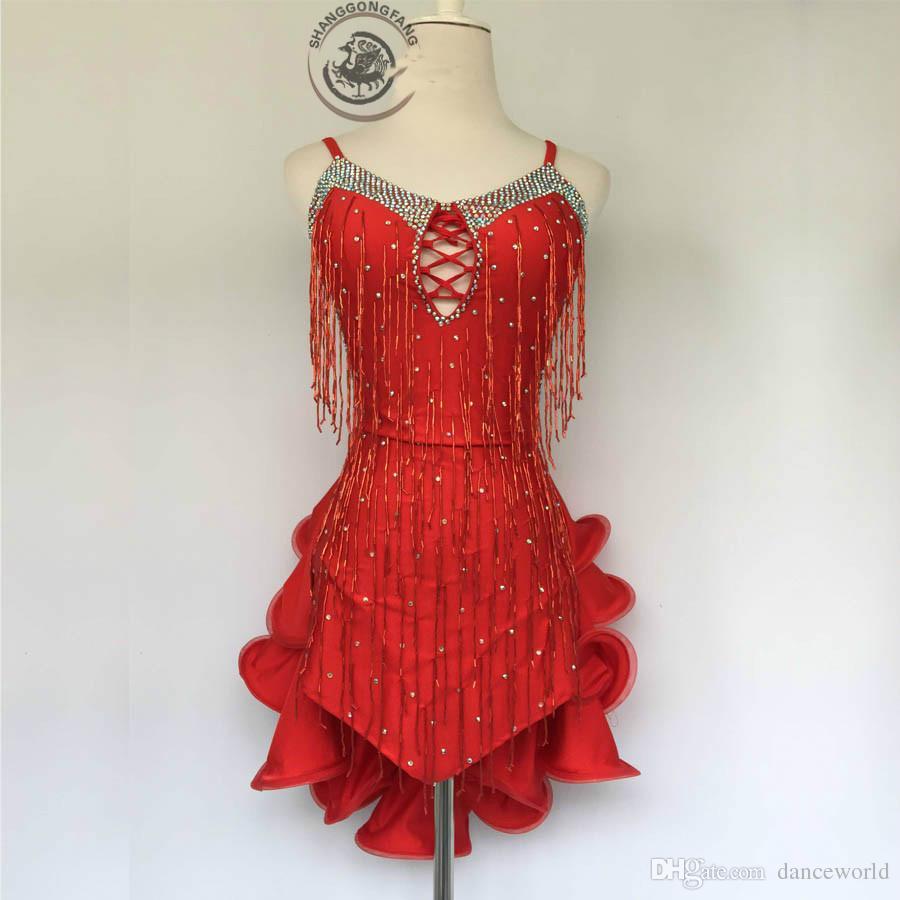 2019 dult / Costume da ballo latino da ballo bambini sexy paillettes rosse nappa vestito da concorso di ballo latino donna bambino abiti da ballo latino S-4XL