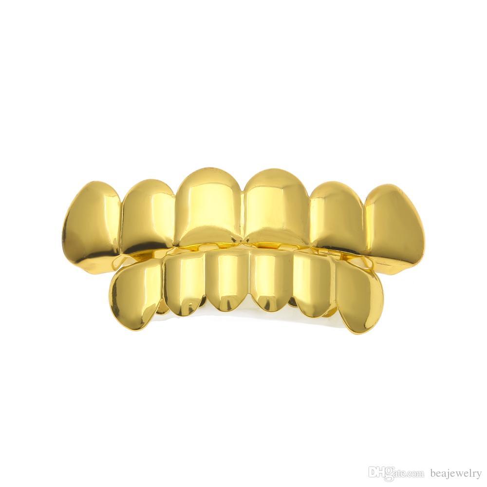 حقيقي لامعة جديد 18 كيلو الذهب الروديوم مطلي الهيب هوب الأسنان غريلز قبعات الأعلى أسفل مجموعة الشواية للرجال